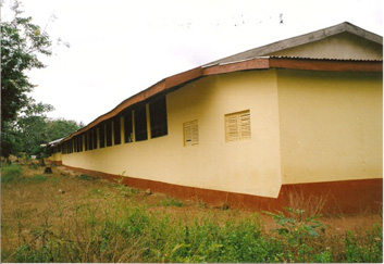 Sept. 15,2011 - Front view of the completed 12 classrooms, office and store block of the Sampa R.C. Primary School.