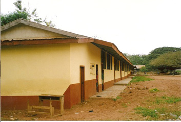 Sept. 15, 2011 - Back view of the completed 12 classrooms, office and store block of Sampa R.C. Primary School.