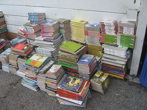 Display of all the books donated to SCEP for school children in Africa.